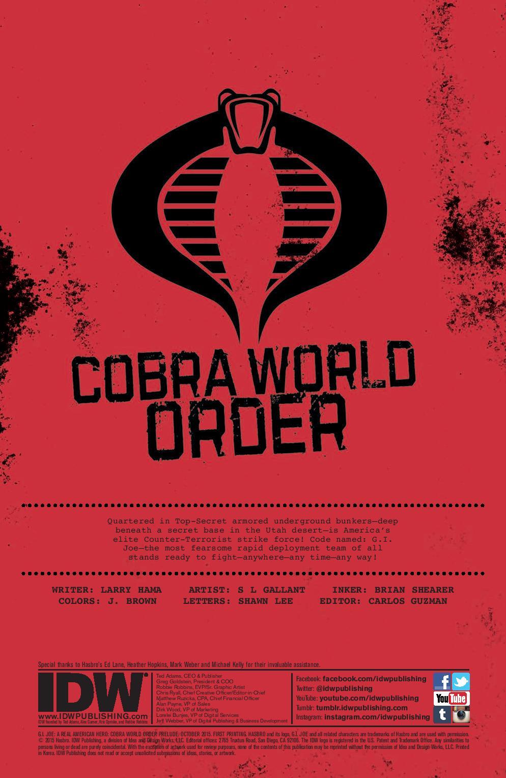 GI JOE Cobra World Order Prelude Preview Page