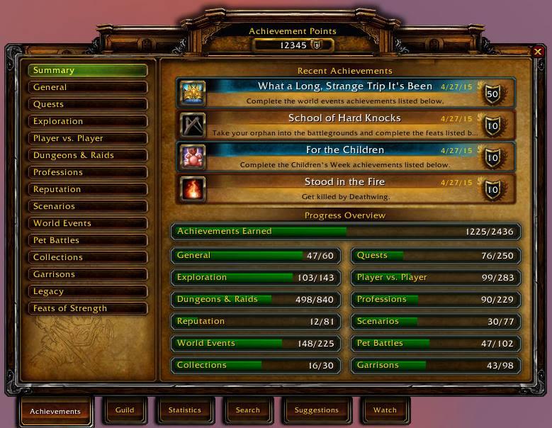 WoW Achievement System