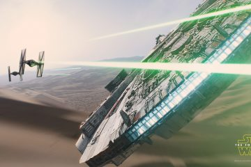Millennium Falcon on Jakku Star Wars The Force Awakens