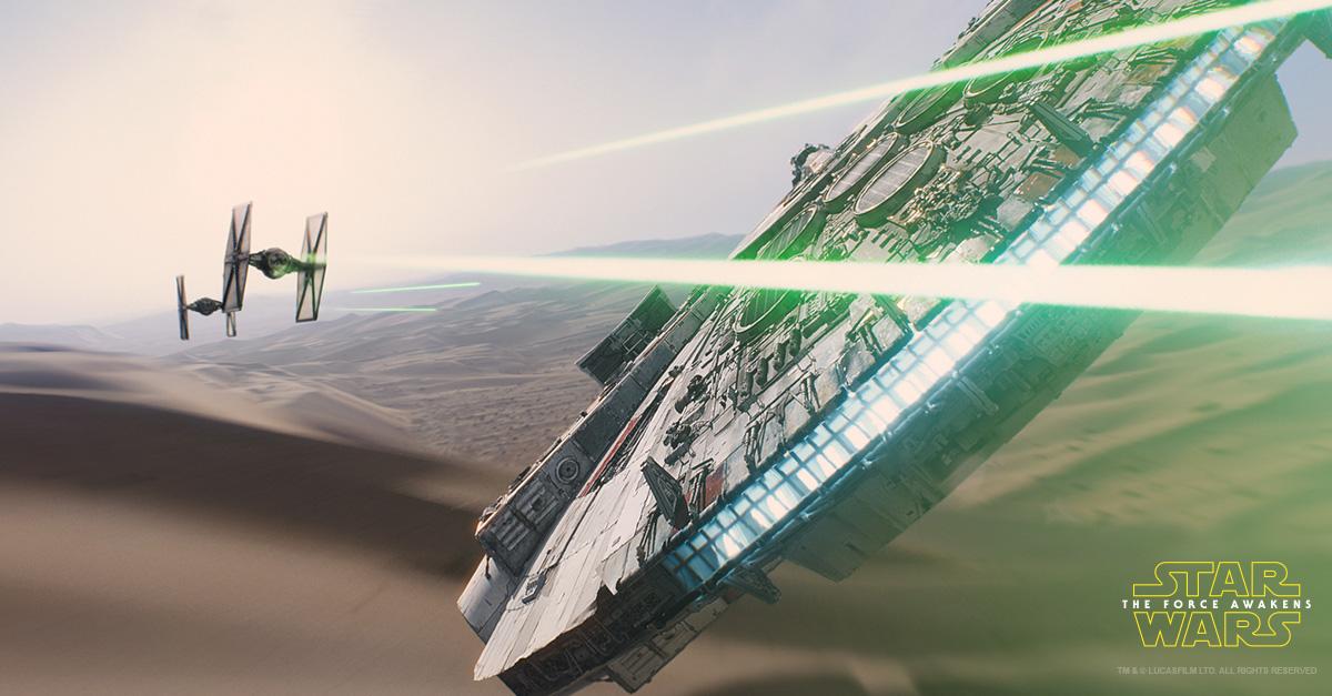 Millennium Falcon on Jakku Star Wars The Force Awakens