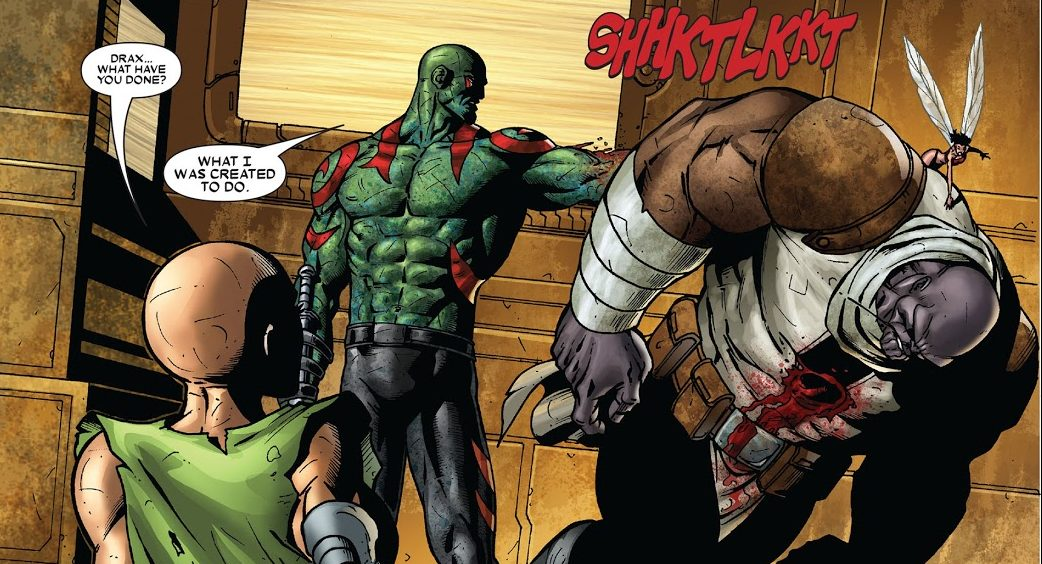 Drax Killed Thanos Bounding Into Comics