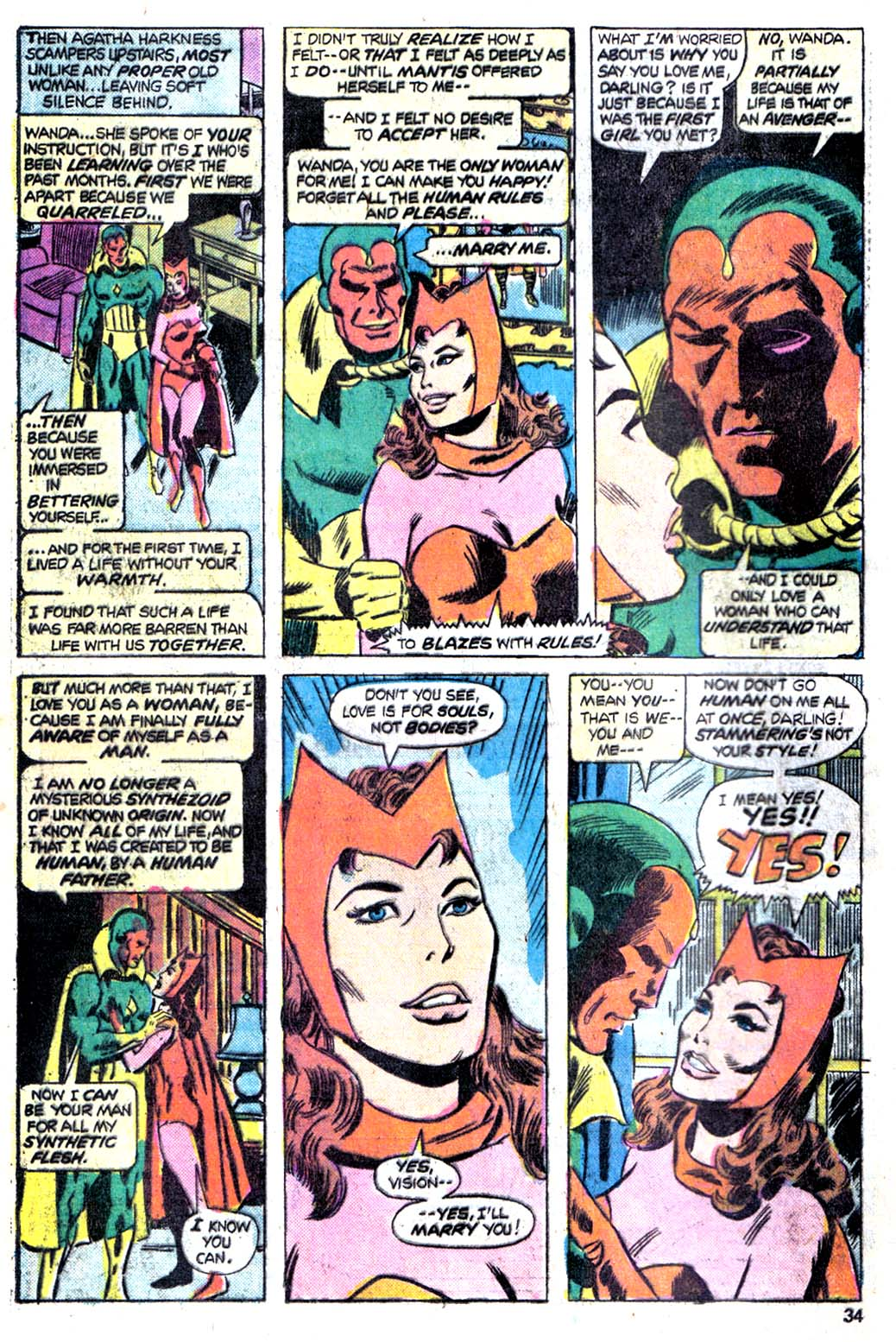 Vision proposes to Scarlet Witch