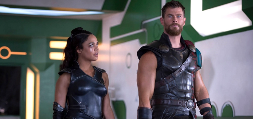 Tessa Thompson and Chris Hemsworth in Thor: Ragnarok - Disney and Marvel Studios