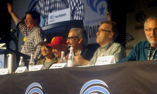 From Left to Right: Moderator Paul Malmont, Jim Lee, Alex Sinclair, Norm Rapmund, Dan Jurgens and Marv Wolfman - WonderCon Action Comics #1000 Panel - DC Comics