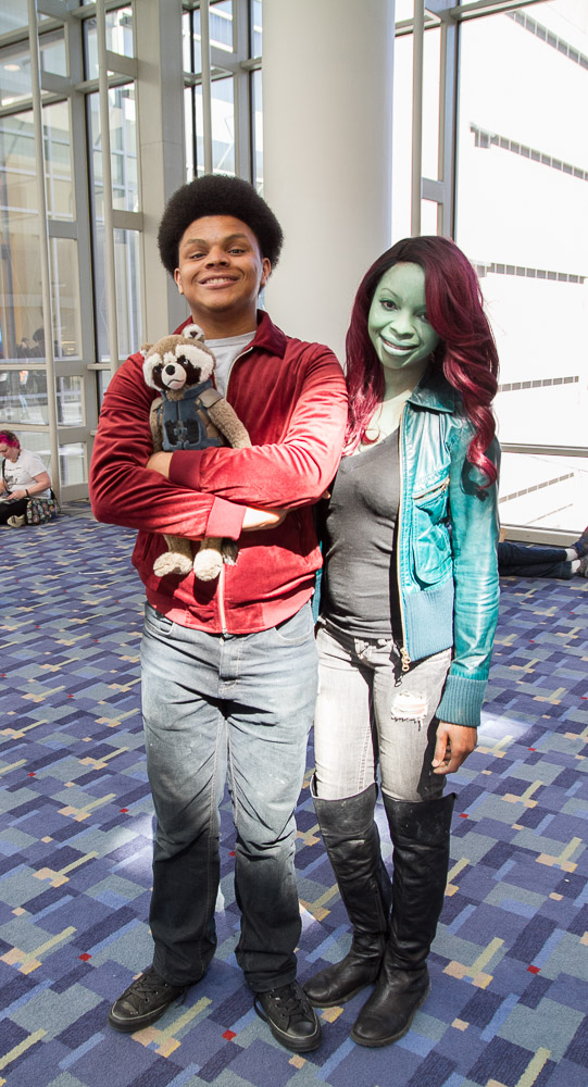 Star-Lord and Gamora with Rocket Raccoon