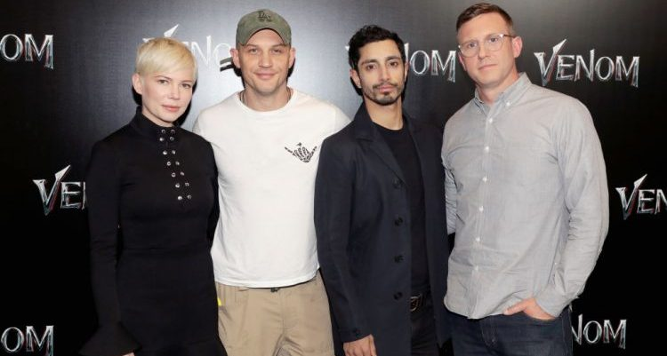 Ruben Fleischer, Tom Hardy, Riz Ahmed, and Michelle Williams