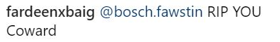 Bosch Fawstin threats
