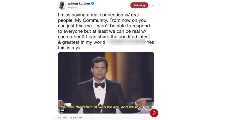 Ashton Kutcher Tweet