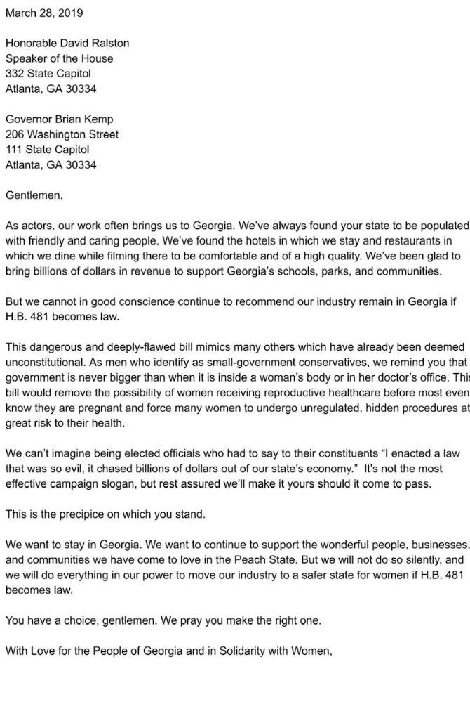 Celebrity Letter to Georgia Governor