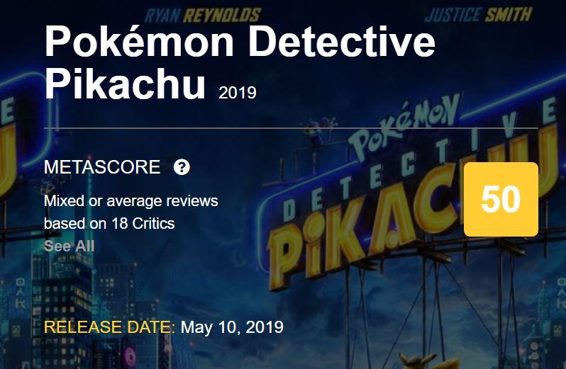 Detective Pikachu Metacritic