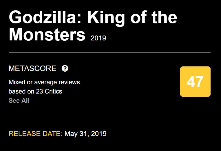 Godzilla King of the Monsters Metacritic