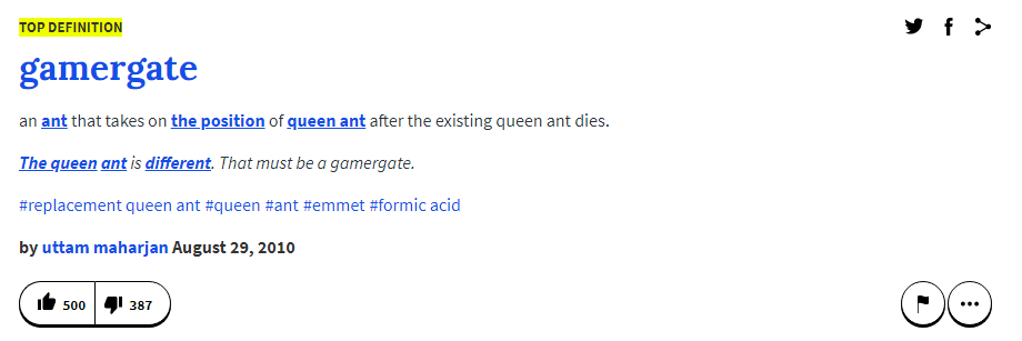 UrbanDictionary Removes Entries Related to GamerGate and Zoe Quinn