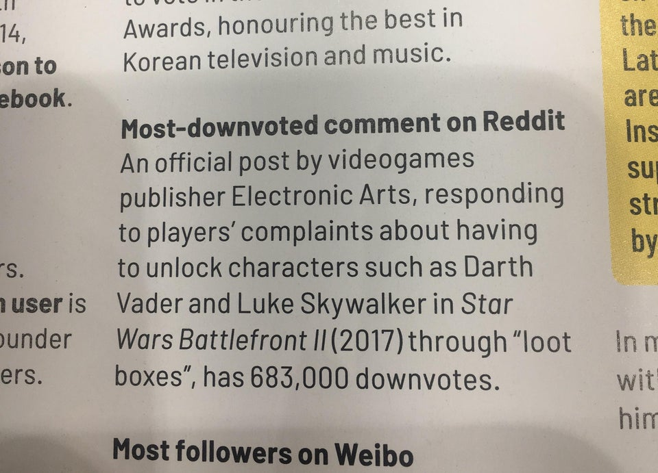 "EA's Response to Star Wars Battlefront II Microtransaction Complaint Recognized by Guinness World Records as ""Most-Downvoted Comment on Reddit"" - Guinness Entry"