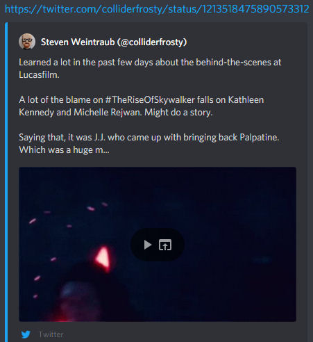 "Collider's Steven Weintraub Posts, Quickly Deletes Tweet Claiming ""A lot of the blame"" for Star Wars: The Rise of Skywalker ""Falls on Kathleen Kennedy and Michelle Rejwan"""