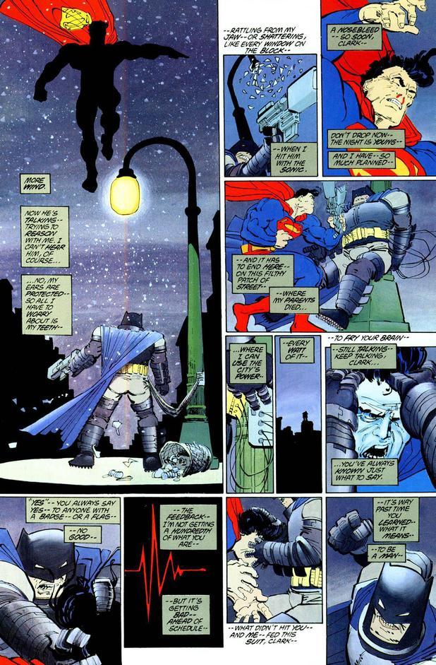 Batman fights Superman in Frank Miller's Dark Knight Returns