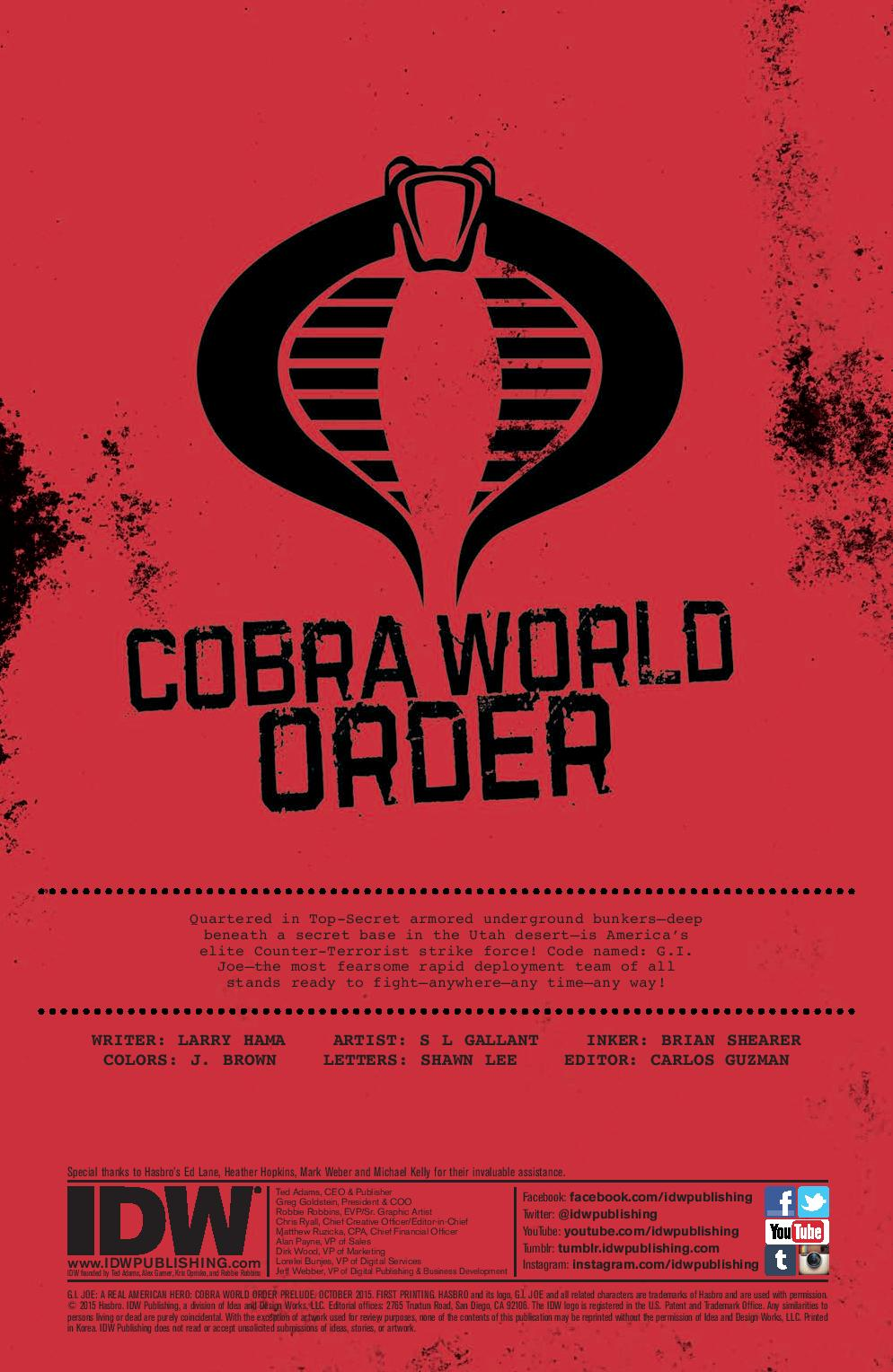 GI JOE Cobra World Order Prelude Preview Page