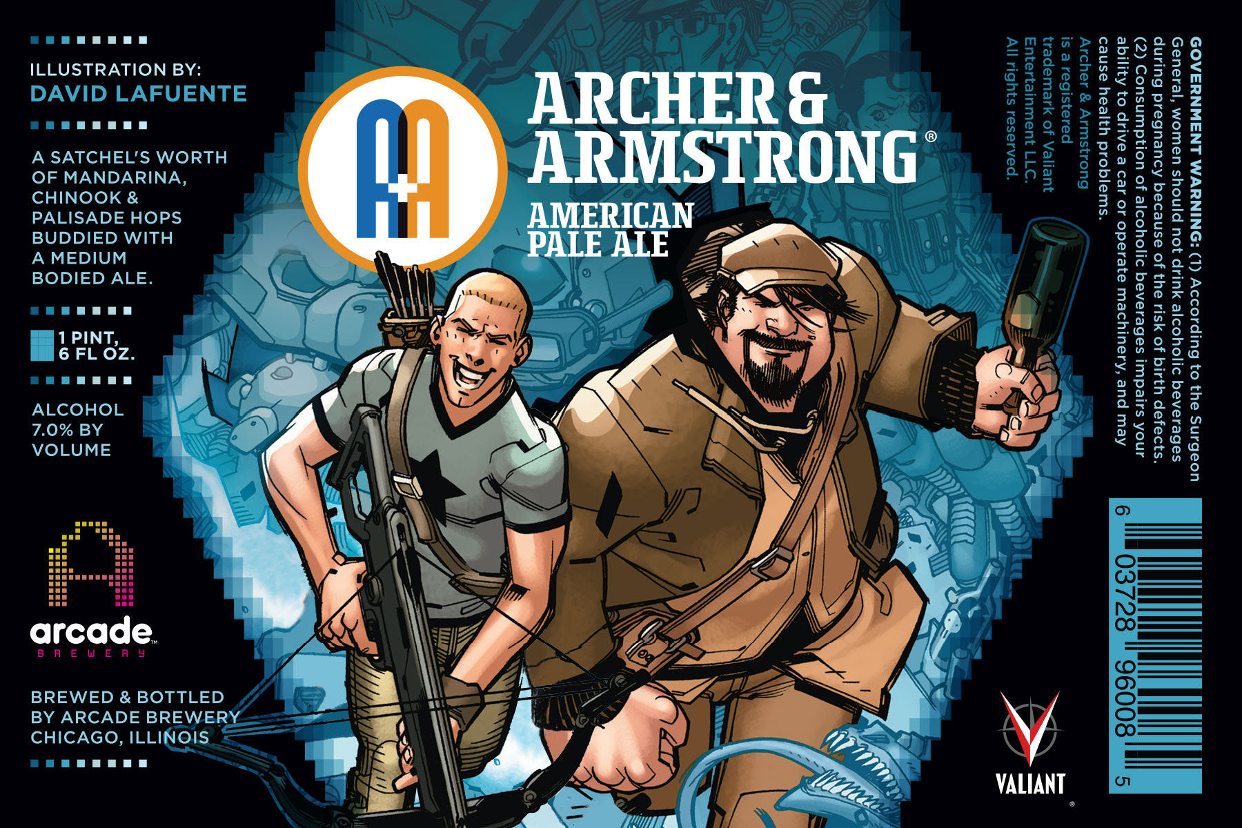 Archer & Armstrong American Pale Ale - Label Artwork by David Lafuente