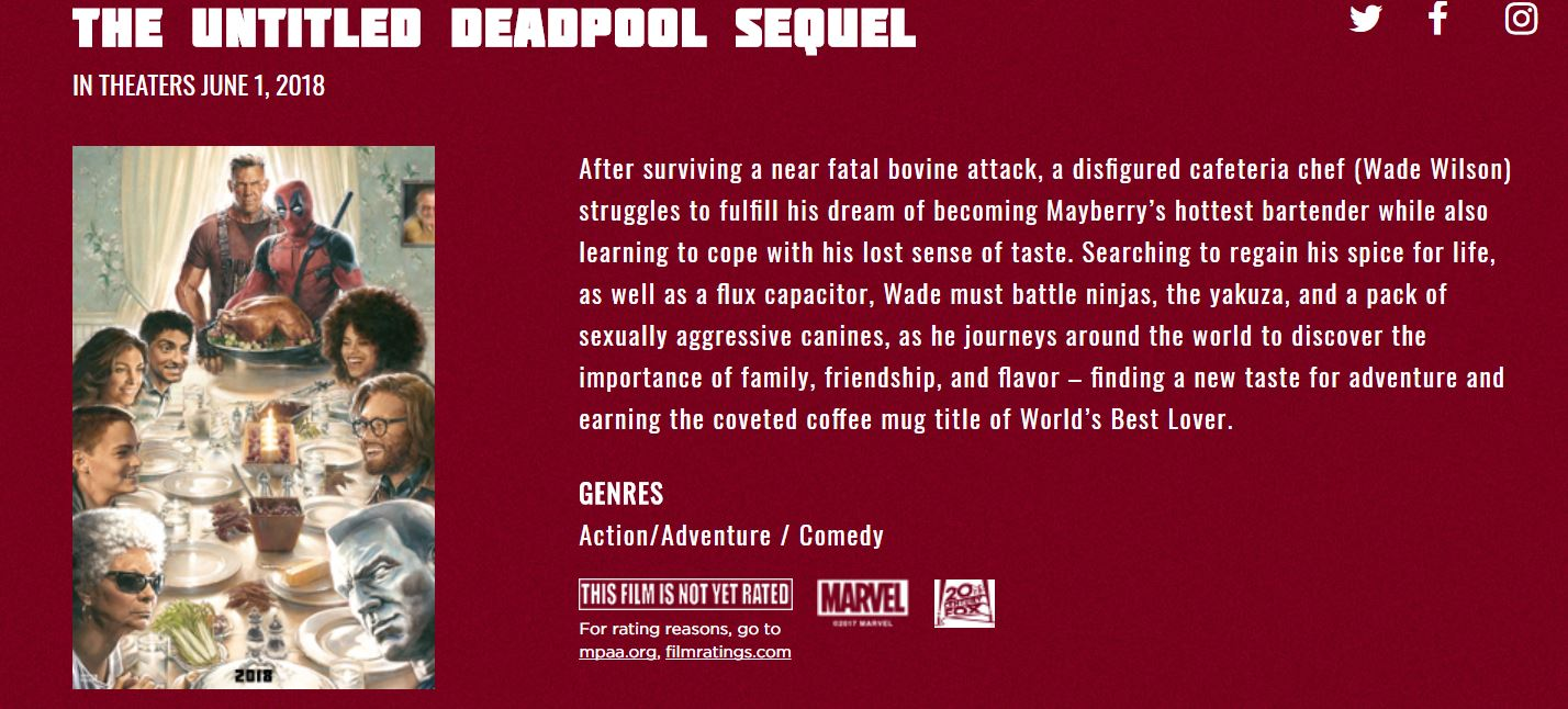 Deadpool Title and Synopsis