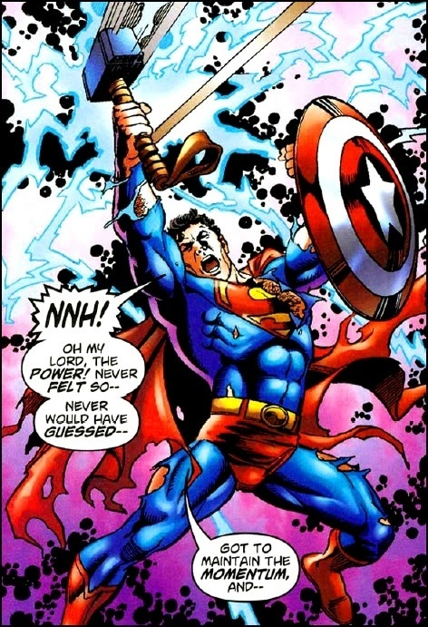 Superman wields Thor's Hammer and Captain America's shield