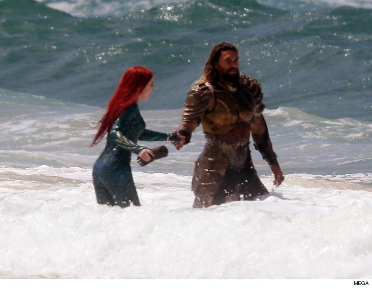 "Jason Momoa and Amber Heard filming ""Aquaman"" - Photo by TMZ"