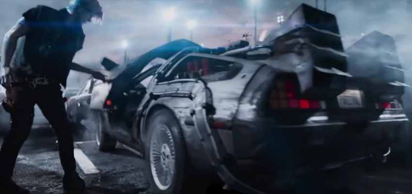 "Parzival and the DeLorean in ""Ready Player One"" - Warner Bros. Pictures and Amblin Entertainment"