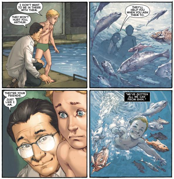 "Dr. Shin and Arthur Curry in ""Aquaman"" - Art by Ivan Reis - DC Comics"