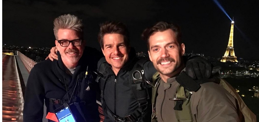 Christopher McQuarrie, Tom Cruise and Henry Cavill from Christopher McQuarrie's Instagram