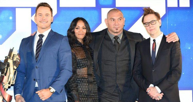 James Gunn, Chris Pratt, Zoe Saldana, and Dave Bautista