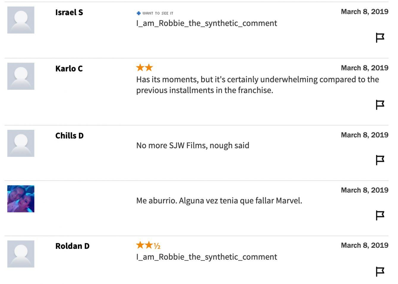 Rotten Tomatoes Captain Marvel bot comments