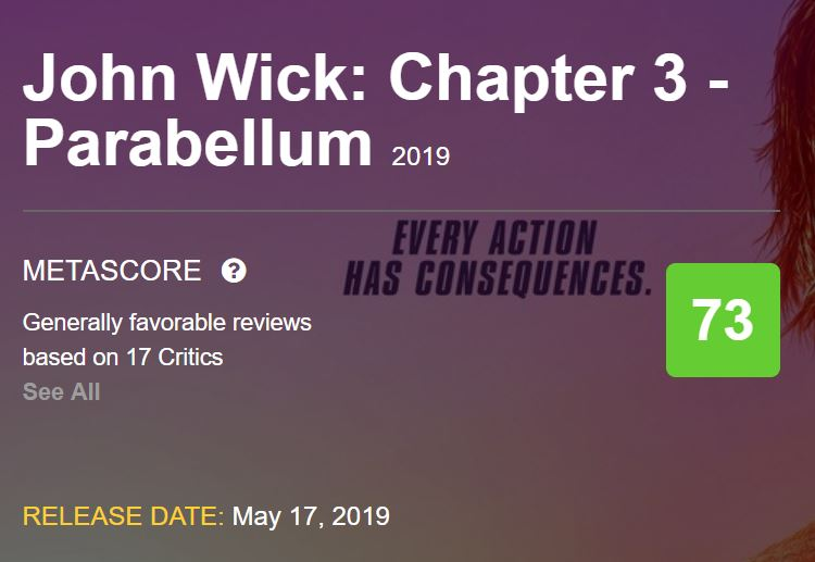 John Wick 3 Parabellum Metacritic