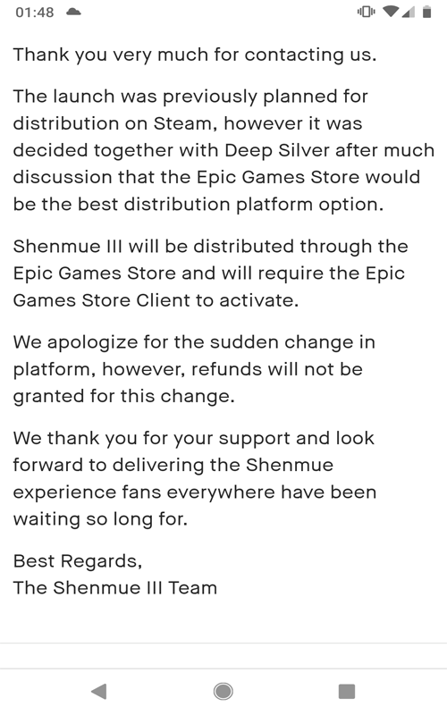 Fans Outraged After Shenmue III Announced As An Epic Games Store Exclusive
