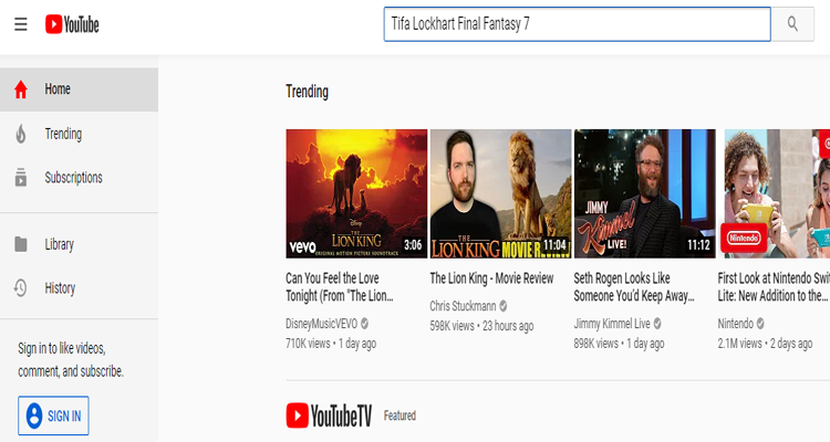 Tifa Lockhart Content Blocked from YouTube's Auto-Fill Suggestions - Tifa Lockhart Final Fantasy 7 Search Results