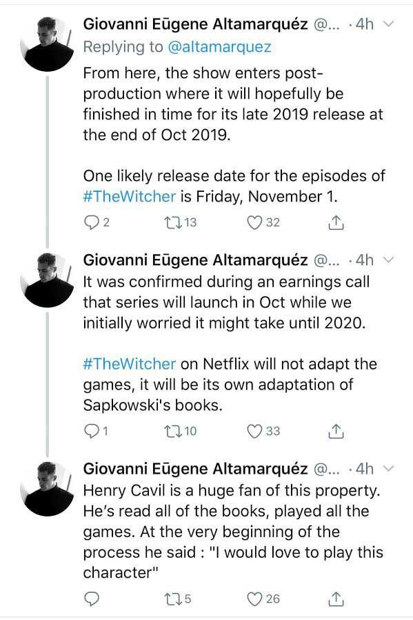 Rumor: Netflix's Witcher Show Starring Henry Cavill to Debut in November -  Bounding Into Comics