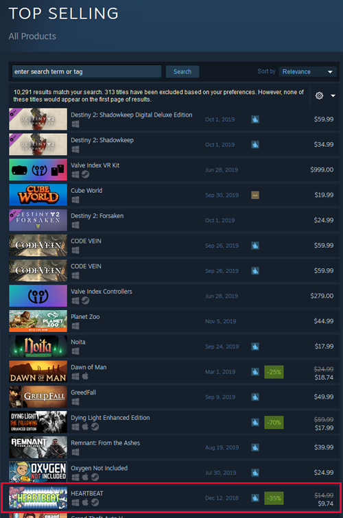 Heartbeat Devs Respond to Backlash by Offering Game at 41% Discount in Reference to Trans Suicide Rates - Heartbeat on Steam Best-Sellers Chart
