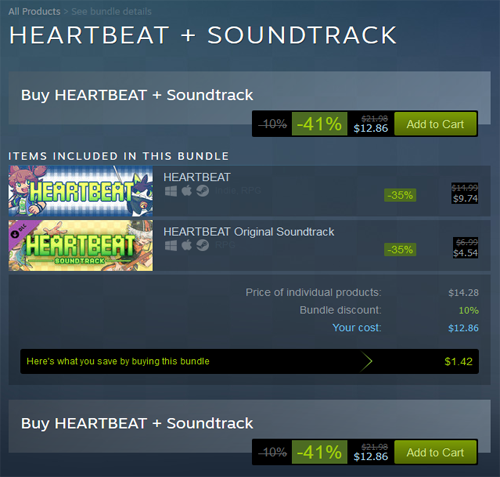 Heartbeat Devs Respond to Backlash by Offering Game at 41% Discount in Reference to Trans Suicide Rates - Bundle Screenshot