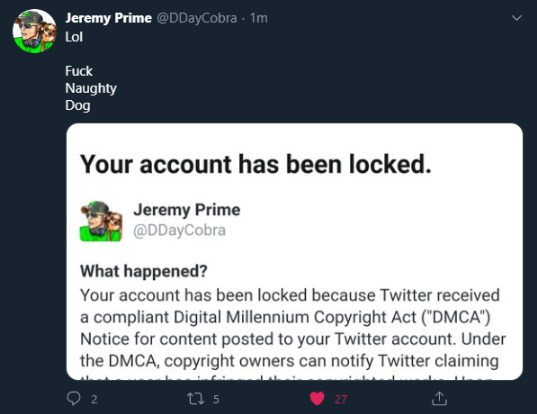 Twitter Suspends Jeremy Griggs of Geeks + Gamers Following Naughty Dog DMCA Strikes Over The Last of Us II Memes