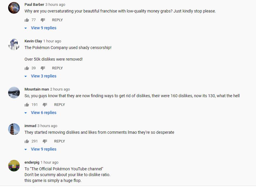 Pokemon United Youtube comments 2