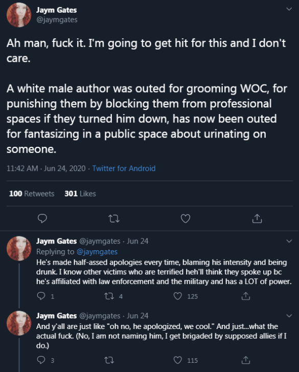 "Fiction Author Jaym Gates Accuses Former Star Wars Author Chuck Wendig ""Stomped All Over Women to Prove He's the Best Feminist"""