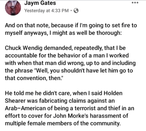 "Fiction Author Jaym Gates Claims Former Star Wars Author Chuck Wendig ""Stomped All Over Women to Prove He's the Best Feminist"""