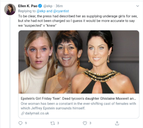 "Former Reddit CEO Ellen Pao Claims Prior Knowledge of Ghislaine Maxwell ""Supplying Underage Girls for Sex"" to Pedophile Jeffrey Epstein and Associates"