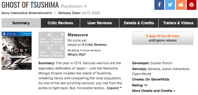 Metacritic Moves to Prevent Sitewide User Reviews Prior to Official Releases In Response to The Last of Us II