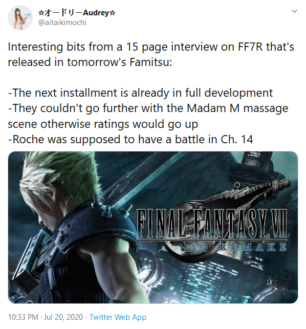 Final Fantasy VII Remake Team Confirms Next Installment in Development, Discusses Cut Content in New Famitsu Interview
