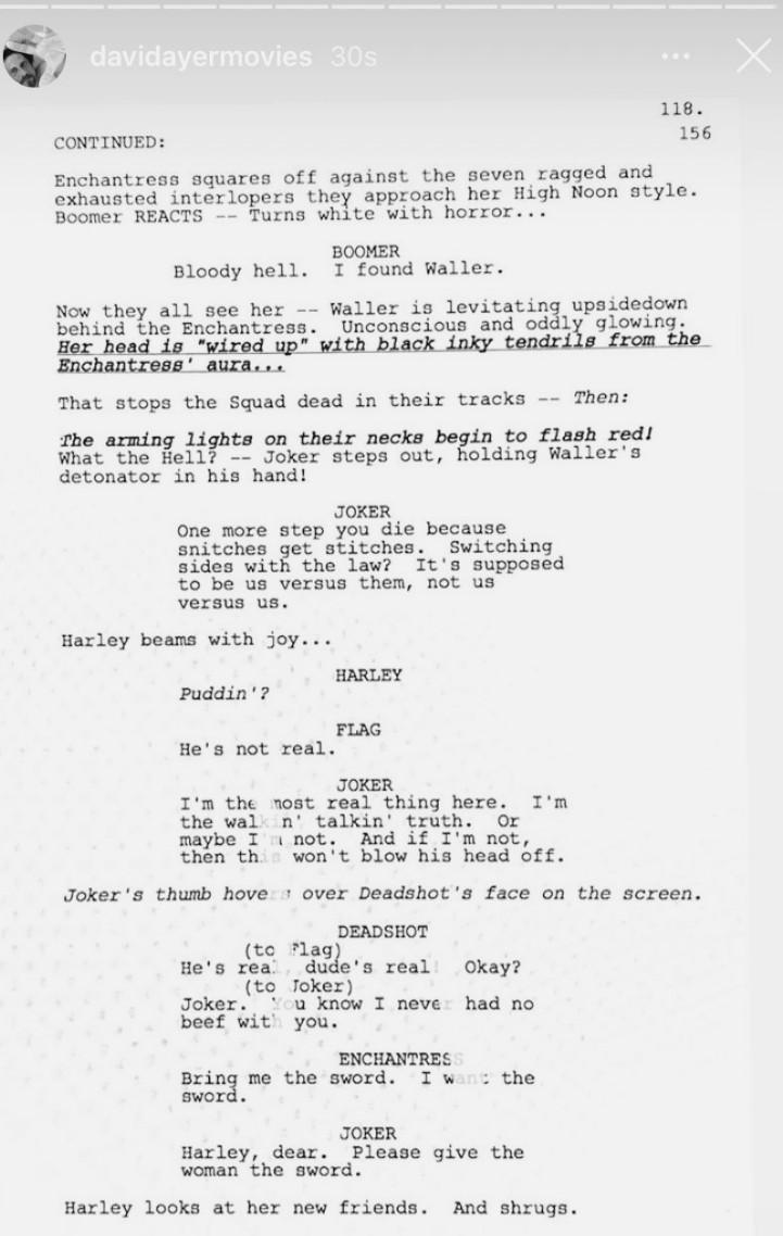 David Ayer Suicide Squad Script Page