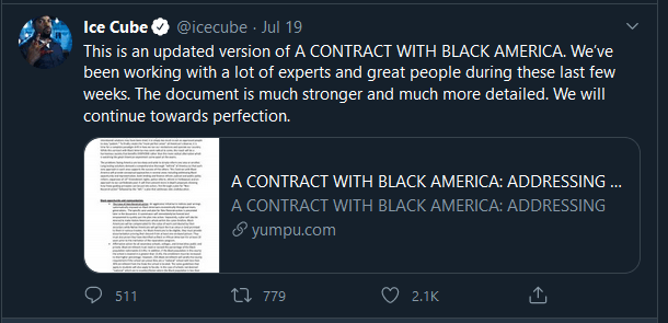 Ice Cube contract with black america tweet