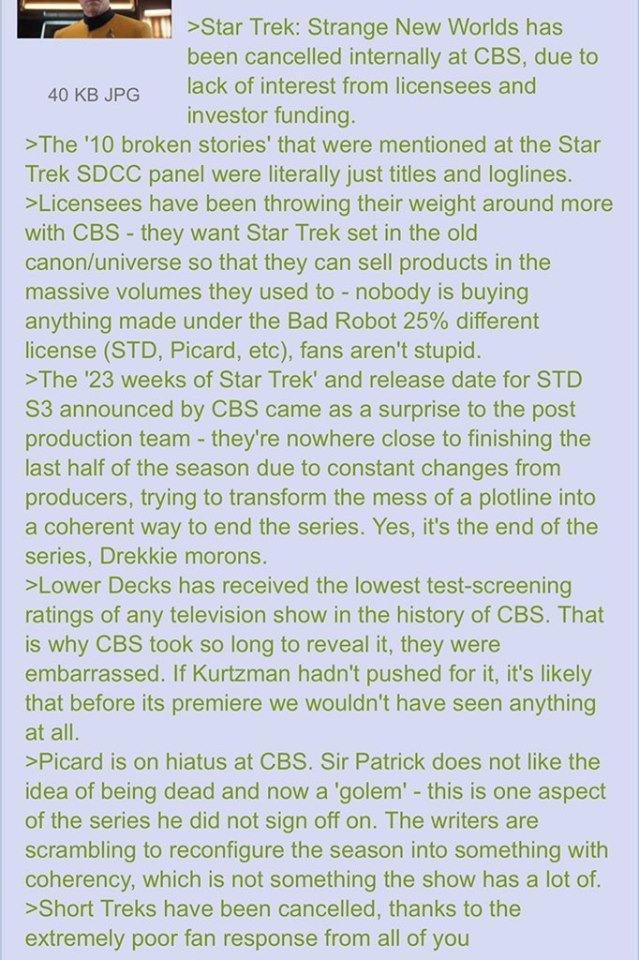 Star Trek 4chan August Rumors