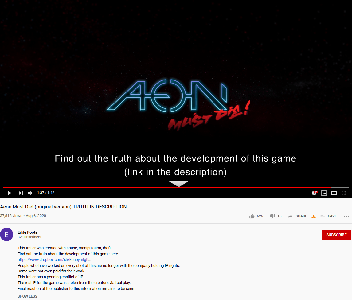"Aeon Must Die! Devs Claim Trailer ""Created With Abuse, Manipulation, Theft"", Staff Subjected to ""Unbearable Work Conditions"""