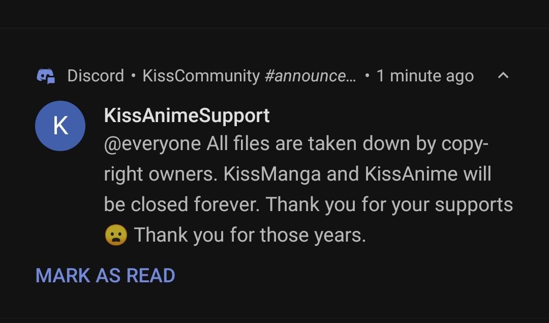 Pirate Anime Streaming Site Kissanime Shuts Down As Japan Cracks Down on Piracy