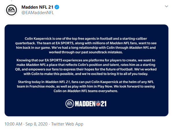 Colin Kaepernick Returns to the NFL as Playable Quarterback in EA's Madden 21