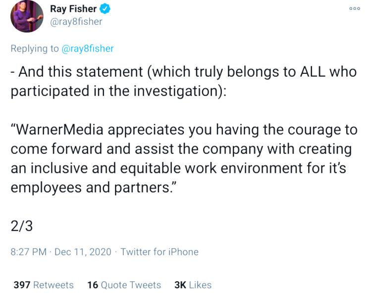 Screenshot-Ray Fisher-Warner investigation