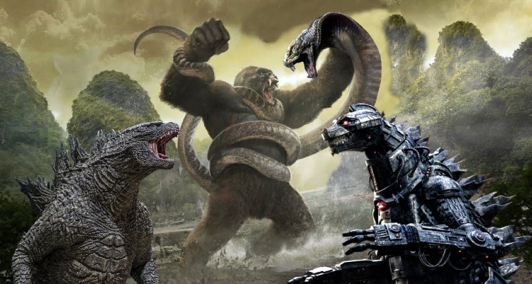 Godzilla; Kong on Skull Island vs Mechagodzilla and snake